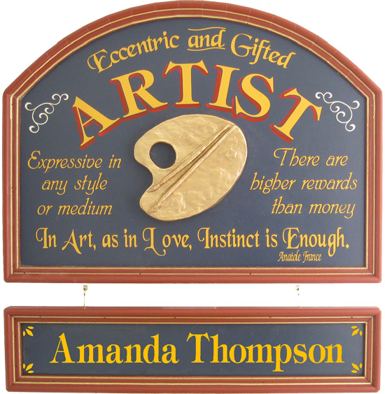 Artist Plaque with Custom Name Board