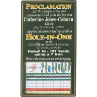 Hole-In-One Proclamation Plaque
