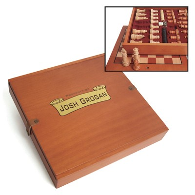 Engraved Chess, Checker and Backgammon Set