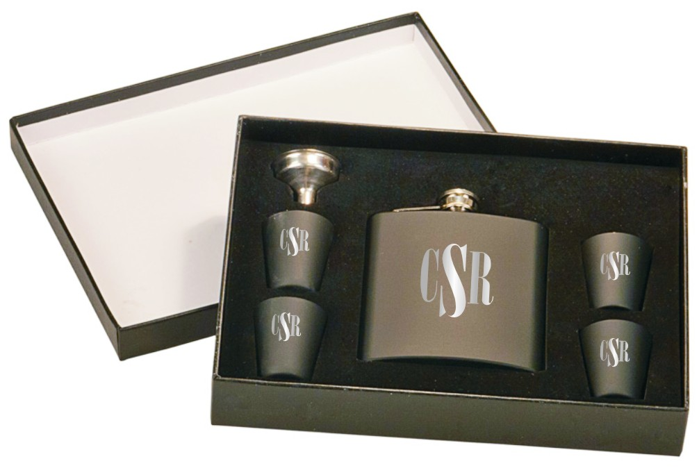 Personalized Black Flask and Shot Glass Set
